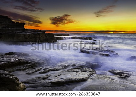 Sunrise seascape and colorful sky.  - stock photo