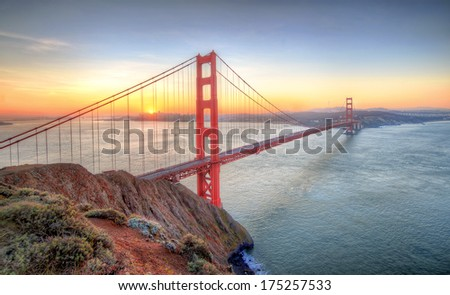 Sunrise seen from Golden Gate Bridge, San Francisco - stock photo