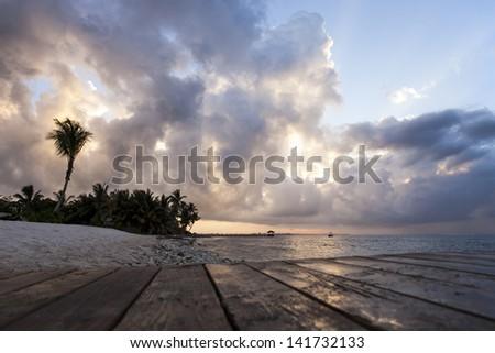 Sunrise - Seven Mile Beach, Grand Cayman  - stock photo