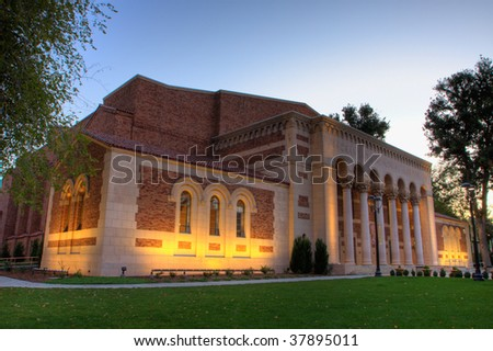 Sunrise shot with high dynamic range photography a corner of the Sacramento Memorial Auditorium - stock photo