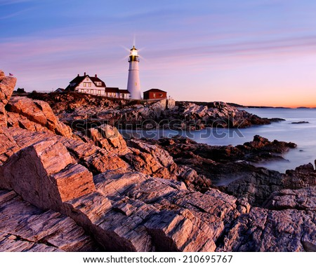 Sunrise Starts Another New England Day At The Portland Head Light, Portland, Maine, USA - stock photo