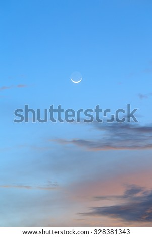 Sunrise - Sunset sky with the moon. - Cloudy and sky. - stock photo