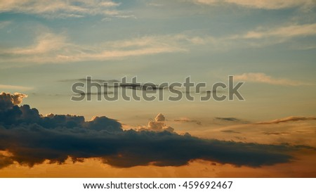 Sunrise / sunset with clouds and sunlight                           - stock photo