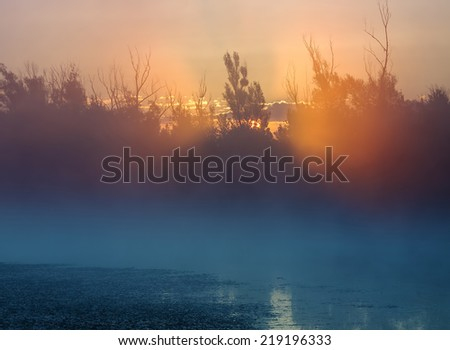 Sunrise through trees by the foggy blue lake or pond.  - stock photo