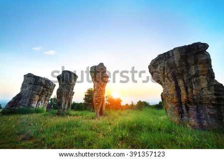 Sunrise time at Stonehenge of Thailand , MOR HIN KHAOW  CHAIYAPHUM - stock photo