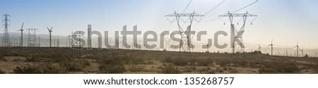 Sunrise Transmission Towers - stock photo