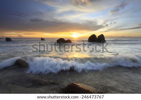 sunrise view at seaside Kuantan Malaysia - stock photo
