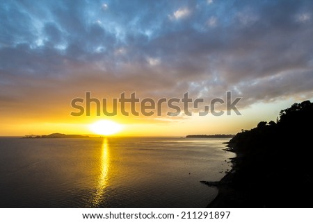 Sunrise view Mission Bay, Auckland, New Zealand - stock photo