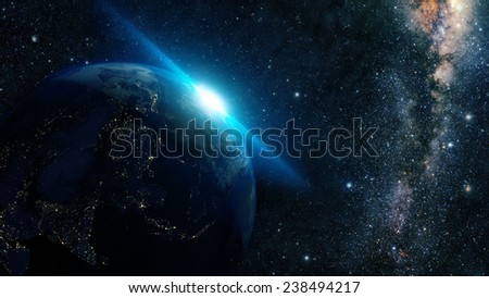 sunrise view of earth from space with milky way galaxy Elements of this image furnished by NASA  - stock photo