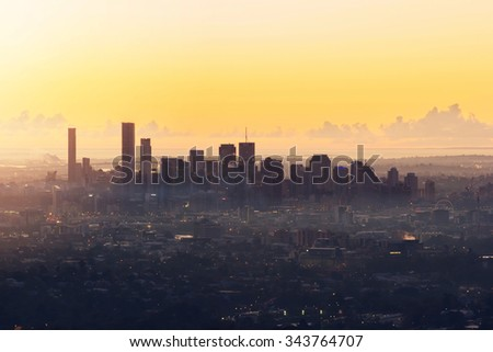 Sunrise View of the Brisbane City from Mount Coot-tha. Queensland, Australia. - stock photo