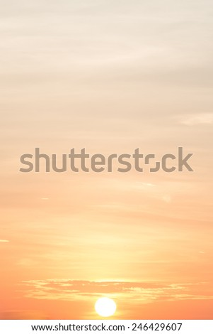 Sunrise view with orange sky - stock photo
