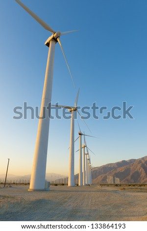 Sunrise Windmill Farm - stock photo