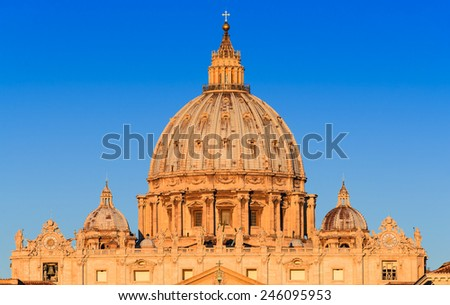 Sunrise with dome of Saint Peter Basilica from Vatican, main religious Catholic Church, Holy See and Pope residence. Italy landmark. - stock photo