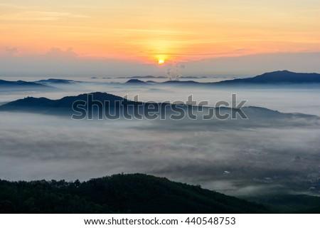 Sunrise with fog at Hatyai, Songkhla, Thailand - stock photo