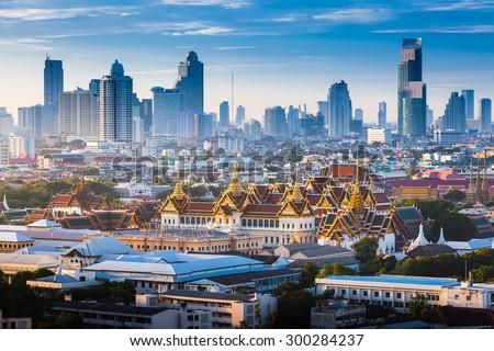 Sunrise with Grand Palace of Bangkok, Thailand - stock photo
