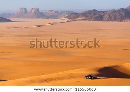 Sunrisein the Sahara Desert - stock photo