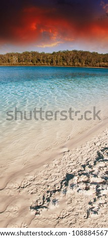 Sunse Colors of Lake McKenzie in Fraser Island, Australia - stock photo