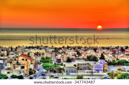 Sunset above the city of Paphos - Cyprus - stock photo