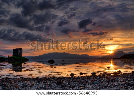 Sunset above the Stalker Castle, Scotland - stock photo
