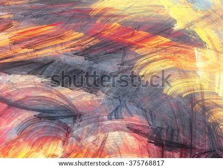 Sunset. Abstract painting color texture. Bright artistic background. Modern multicolor dynamic pattern. Fractal artwork for creative graphic design - stock photo