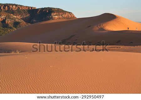 Sunset across pink coral sand dunes in Utah - stock photo
