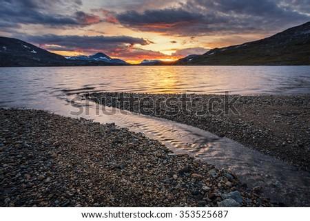 Sunset afterglow - stock photo