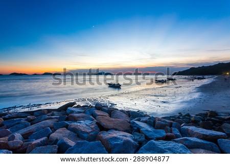Sunset along the coast in Hong Kong - stock photo