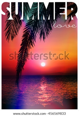 Sunset and a palm tree with the words summer love - stock photo