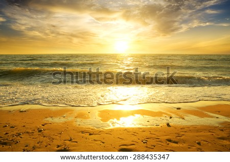 sunset and beach. Nature composition. - stock photo
