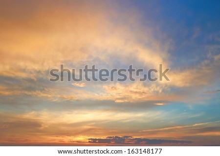 sunset and clouds - stock photo