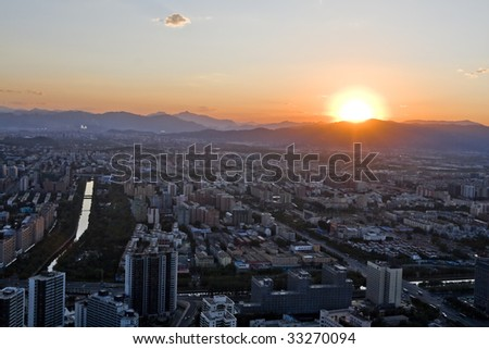 Sunset and Mountains Background, in Beijing China - stock photo