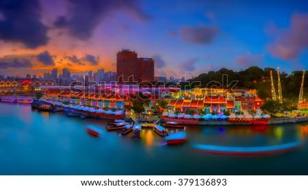 Sunset and panoramic view of Clarke Quay, Singapore - stock photo