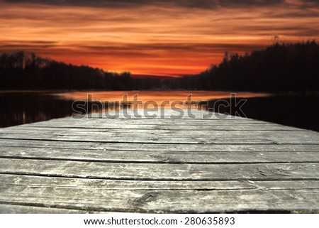 sunset and pier  - stock photo