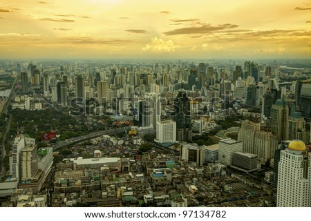 Sunset and urban view in bangkok town, Thailand - stock photo