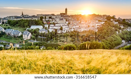 Sunset as seen from Le Monastere in Rodez, Aveyron department of Midi Pyrenees, France - stock photo
