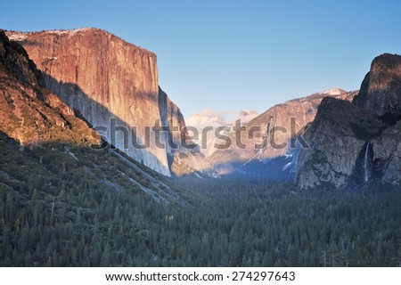 sunset at a tunnel view at yosemite national park - stock photo