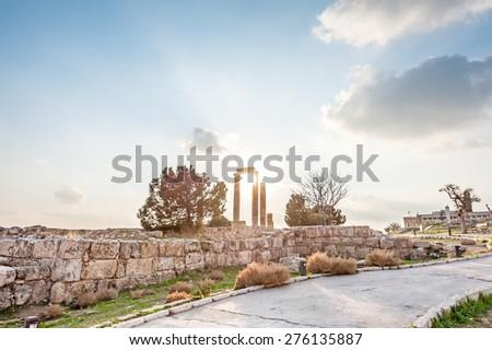 Sunset at Amman Citadel in Citadel hill, Jordan. Amman Citadel is known in Arabic as Jabal al-Qal'a. - stock photo