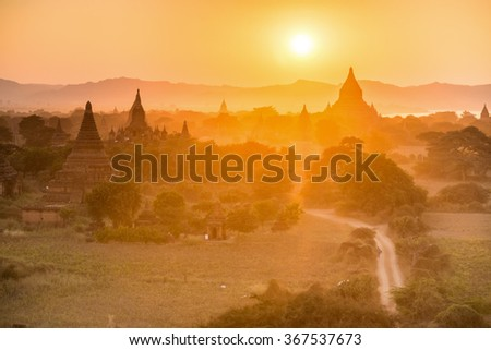 sunset at ancient temple in Bagan , Myanmar - stock photo