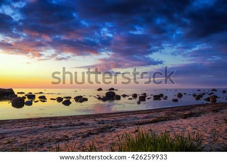 Sunset at Baltic sea in Lahemaa nature park, Estonia - stock photo
