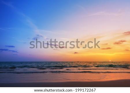 Sunset at Banana Garden Home on Klong Dao Beach - Lanta Island - Krabi - Thailand. - stock photo