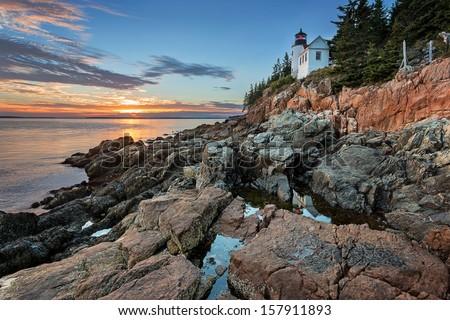 Sunset at Bass Harbor Lighthouse - stock photo