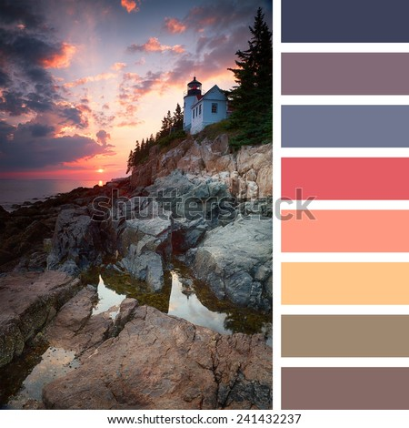 Sunset at Bass Harbor Lighthouse, Mount Desert Island, Maine, USA, with a colour palette of complimentary colour swatches - stock photo