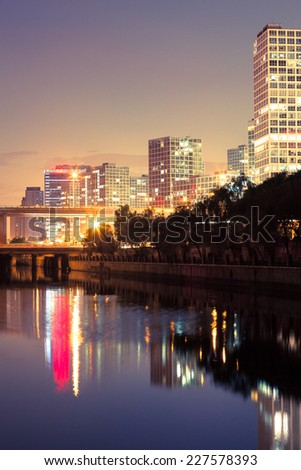 Sunset at Beijing. Skyscrapers in Beijing, China - stock photo