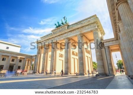 sunset at Berlin Brandenburg Gate of Germany - stock photo