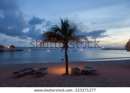Sunset at Blue Bay Beach Curacao one of the Caribbean ABC islands - stock photo