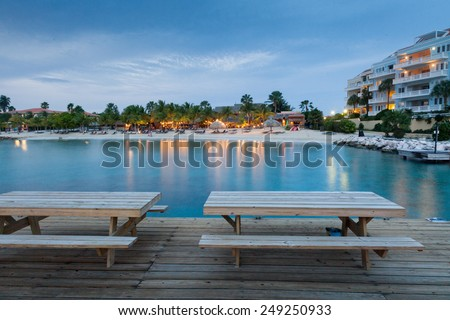 Sunset at Blue Bay Curacao   in the Dutch Antilles a Caribbean Island - stock photo