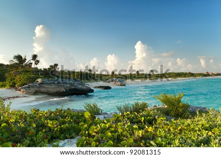 Sunset at Caribbean Sea in Mexico - stock photo