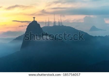 Sunset at christ redeemer, Rio de Janeiro, Brazil  - stock photo