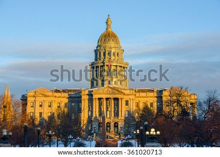 Sunset at Colorado State Capitol - A winter sunset view of Colorado State Capitol Building at Downtown Denver. - stock photo
