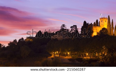sunset at Conegliano castle Italy - stock photo